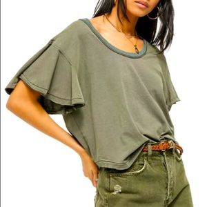 FREE PEOPLE Float On Flutter Tee NWT Size XS Army